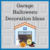 Blue Sky Builders garage Halloween decorations